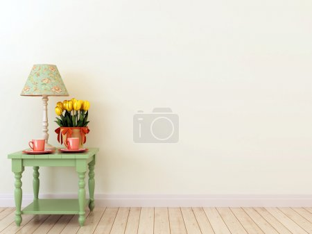 Photo for The interior in the style of Provence which creates spring mood and consisting of green tables with two coffee cups, tulips and elegant table lamp - Royalty Free Image