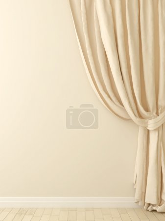 Photo pour Composition des élégants rideaux beiges contre un mur beige - image libre de droit