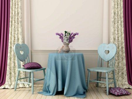 Photo pour Composition intérieure romantique de style provençal, composée d'une table recouverte d'une nappe bleue et de deux chaises avec dossier en forme de cœur - image libre de droit