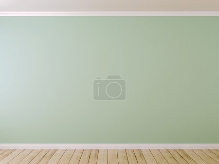 Photo for Blue wall and light parquet can be used as background - Royalty Free Image