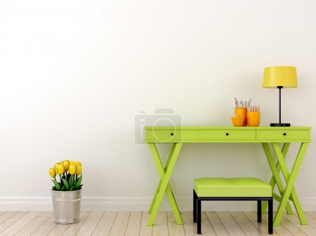 Photo for The interior composition of the desktop in green color and tulips standing on the floor - Royalty Free Image