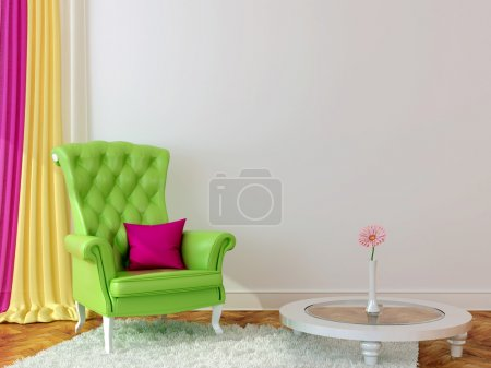 Photo for Bright interior with green armchair and colored curtains creates a spring mood - Royalty Free Image