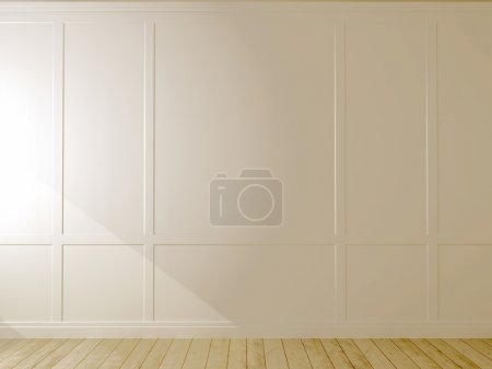 Photo for White wall and light parquet can be used as background - Royalty Free Image