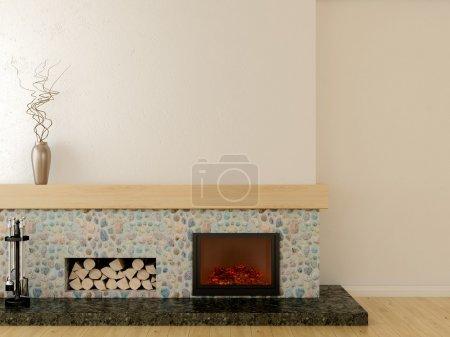 Photo pour Cheminée de style moderne, située sur un piédestal en marbre, bordée de pierre et manteau en bois - image libre de droit