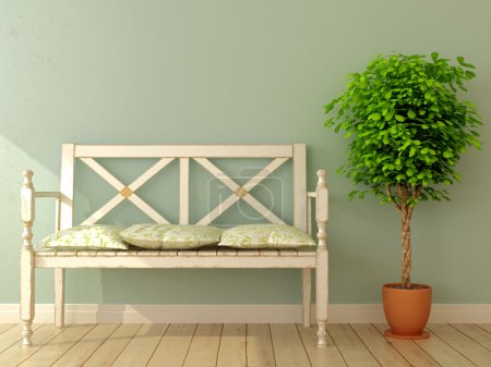 Photo for Romantic interior composition of the bench with an antique design and plant - Royalty Free Image
