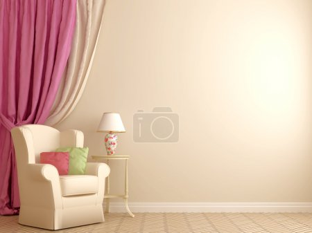 Photo for The interior in the style of Provence. Against the background of beige walls are located an armchair with a white decorative table, a lamp and massive pink curtains that complete the left side of the composition. On the right side of the composition - Royalty Free Image