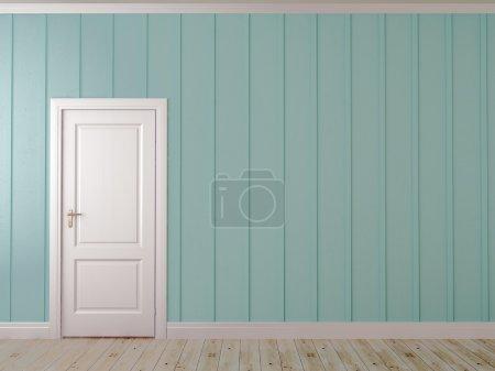 Photo pour Composition asymétrique avec porte blanche sur le mur bleu avec décor vertical - image libre de droit