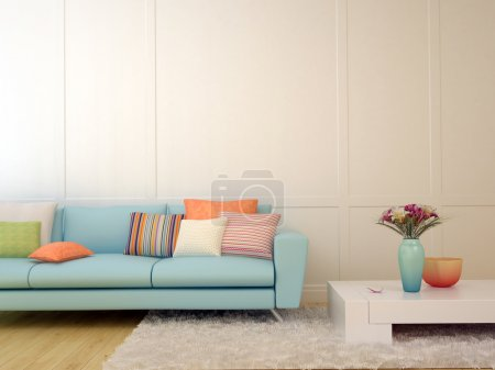 Photo for Bright composition of a light blue sofa with cushions and a white table on the white carpet - Royalty Free Image