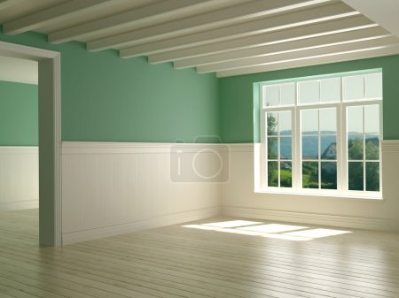 Photo pour Espace vide dans le style provençal avec une vue magnifique de la fenêtre, décoration de poutres blanches et de panneaux de bois - image libre de droit