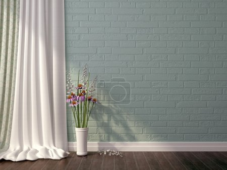Photo for Interior kompozitsyya in a romantic style, with white curtains, and a vase with flowers on the background of blue brickwork - Royalty Free Image