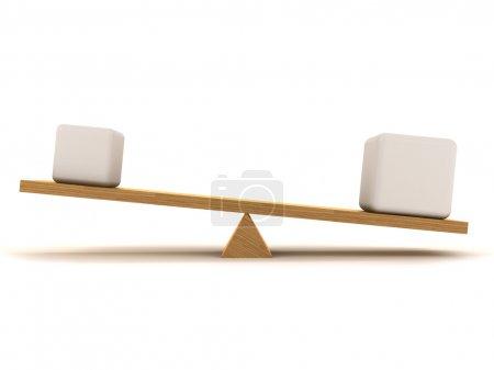 Photo pour Suréquilibre entre un petit chiffre et un grand, qui sont situés sur le pieu en bois . - image libre de droit