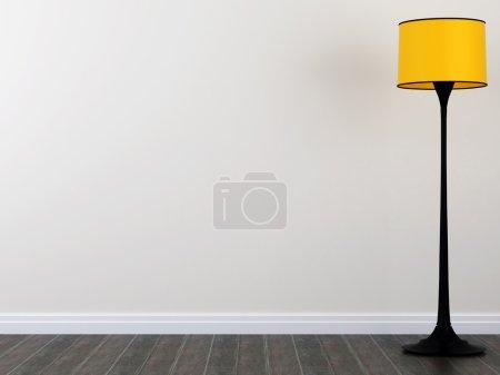 Photo pour Lampadaire jaune vif contre un mur blanc et un parquet foncé - image libre de droit