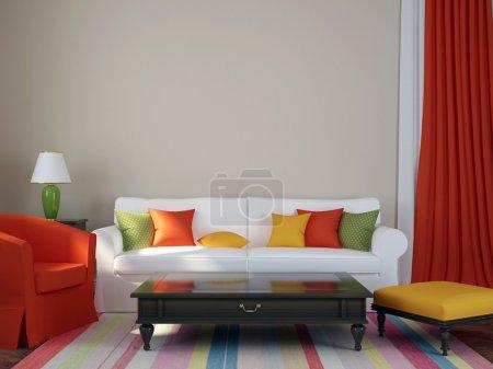 Photo pour Composition colorée faite dans un style éclectique à la mode, composée d'un canapé, fauteuil, pouf, table basse et rideaux - image libre de droit