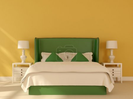 Green bed on a yellow background