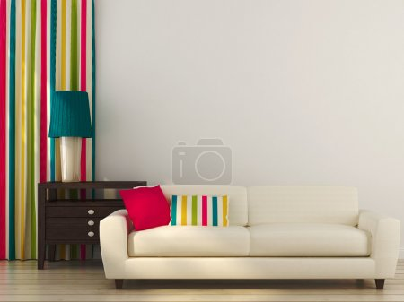 Photo for Bright composition consisting of a white sofa, colored pillows, curtains and drawer unit with table lamp - Royalty Free Image