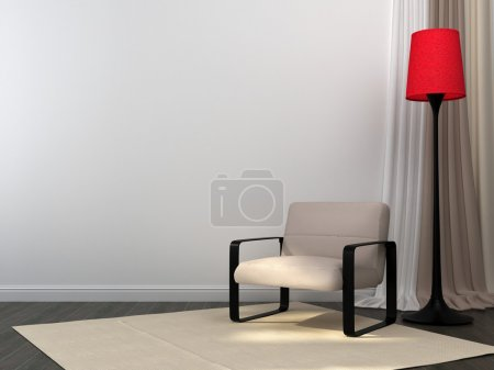 Photo for Interior in beige color with a focus on red floor lamp - Royalty Free Image