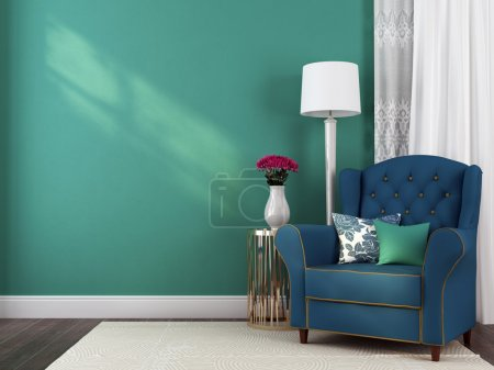 Photo for The classic blue armchair, a small table and lamp against a blue wall - Royalty Free Image