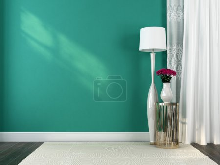 White floor lamp and decoration