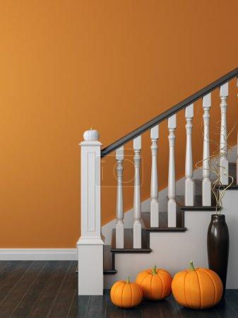 Photo pour Composition colorée avec escalier classique, qui a décoré pour Halloween et posté sur le fond de mur orange vif - image libre de droit