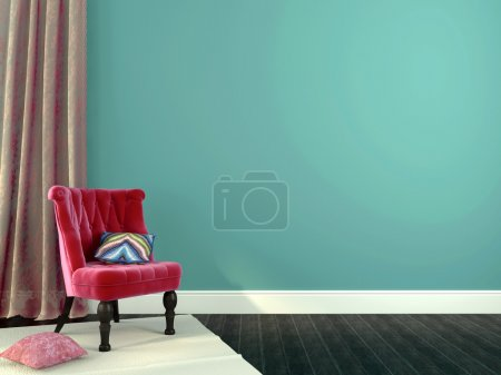 Photo for Romantic interior composition with pink chairs on a background of blue walls and curtains of guipure - Royalty Free Image