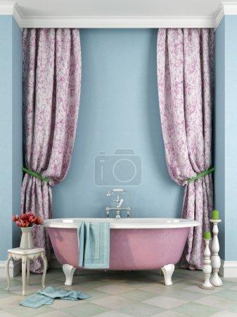 Photo pour Une salle de bain de style provençal avec la belle baignoire rose sur fond bleu - image libre de droit