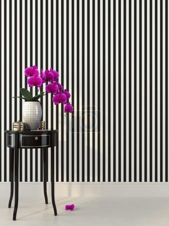 Foto de Bello rosa orquídea en blanco y negro interior - Imagen libre de derechos