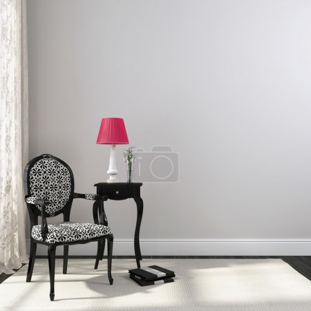 Black classic chair and nightstand