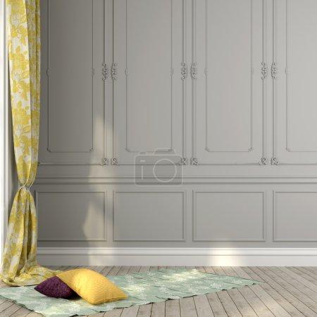 Photo pour Rideaux et oreillers jaunes sur un fond de mur gris avec des moulures décoratives - image libre de droit
