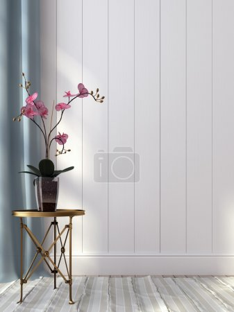 Photo for Pink orchid and a metal table against a white wall - Royalty Free Image