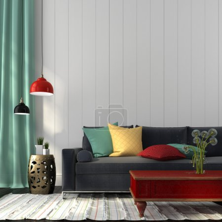 Photo for Interior in eclectic style, consisting of modern sofa, colored decor and classic red table - Royalty Free Image