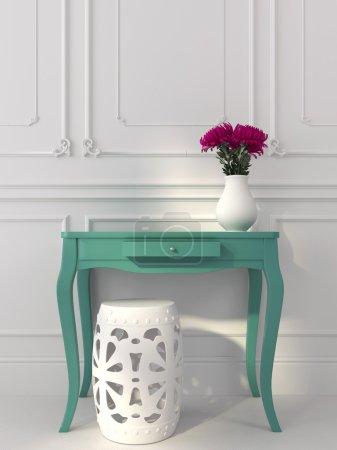 Classic white interior with blue console