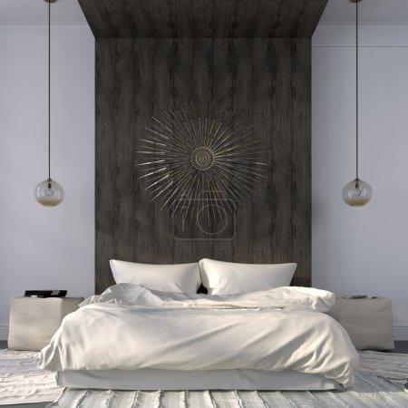 Elegant beige bedroom with wooden decor
