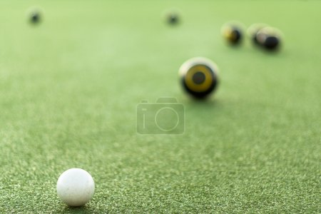Photo for Lawn bowls focussed on jack - Royalty Free Image