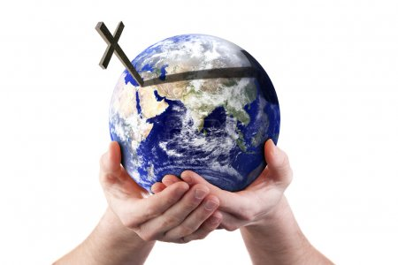 For God so loved the world - holding world in his hands