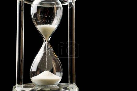 Crystal Hour verre sable chute temps de marquage fond noir