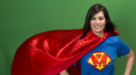 Proud Mom as Super Mother on Green Screen