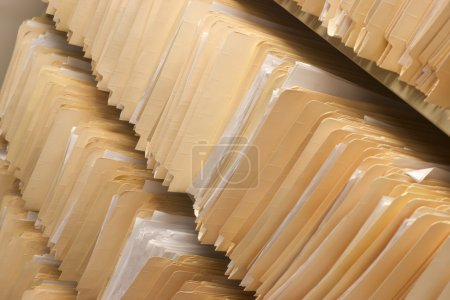 Photo for Rows of File Folders Arranged on Shelf with Client Data in Office Setting - Royalty Free Image