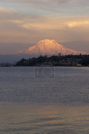 Mt Rainier Sunset Cascade Range Puget Sound North Tacoma Washington