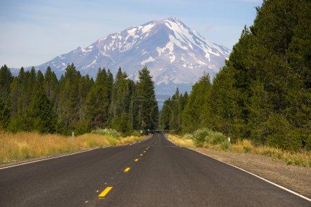 California Highway Heads Toward Mountain Landscape Mt Shasta Cascade Range