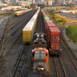 Постер, плакат: Railroad Yards Boxcars Cargo Containers Train Tracks Downtown Tacoma Washington