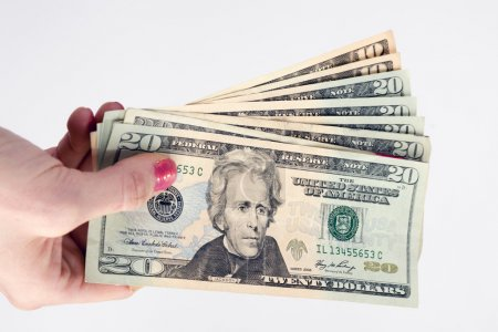 Female Hand Holds Cash Payment Currency Twenty Dollar Money Green