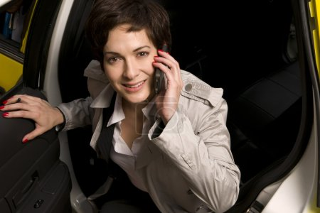 Business Woman Traveler Exits Taxi Cab Transportation Conversation