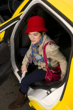 Woman Wearing Bright Accents Steps Out Taxi Cab Automobile Downtown