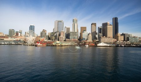 Photo for Infrastructure, Buildings, and waterfront attractions Elliott Bay Seattle - Royalty Free Image