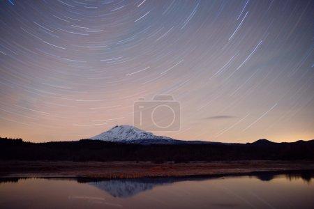 Late Night Long Exposure Stars Sky Mountain Lake Scene