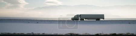 Long Haul Trucker White Light Polution Salt Flats Utah Highway