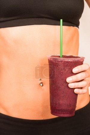 Slender Female Torso Tanned Toned Body Blended Fruit Smoothie Dr
