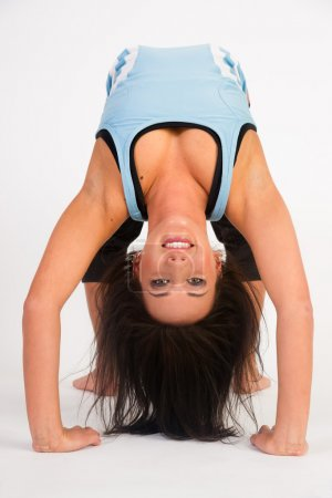 Beautiful Flexible Acrobatic Woman Arched Backwards Two Arm Stand