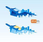 Airplane flight tickets air fly cloud sky blue travel blank city