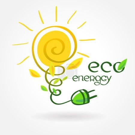 Illustration for Eco energy solar sun alternative power - Royalty Free Image